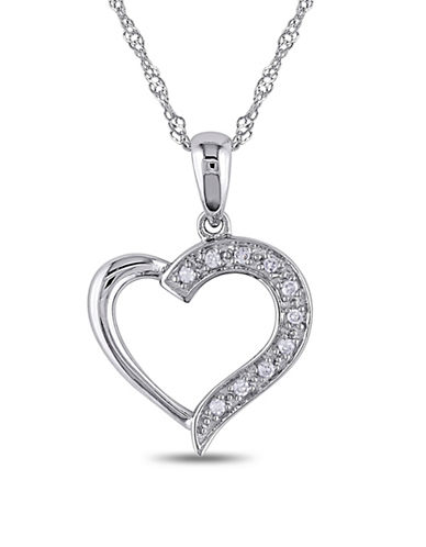 Concerto 14K White Gold 0.05 Total Carat Weight Diamond Heart Necklace-DIAMOND-One Size
