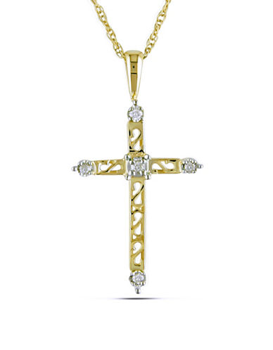 Concerto 14K Yellow Gold 0.04 Total Carat Weight Diamond Religious Cross Necklace-DIAMOND-One Size