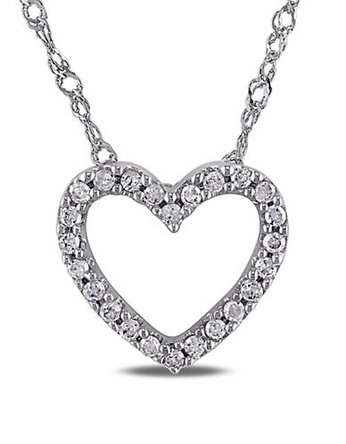 Concerto 14K White Gold 0.1 Total Carat Weight Diamond Heart Necklace-DIAMOND-One Size
