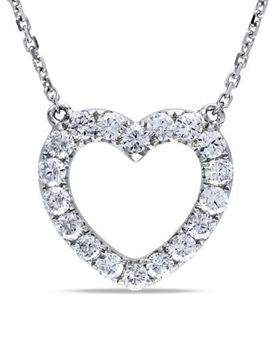 Concerto 0.5 Total Carat Weight Diamond and 14K White Gold 17-Inch Heart Necklace-DIAMOND-One Size