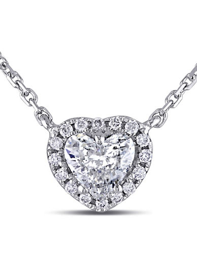 Concerto 0.5 Total Carat Weight Diamond and 14K White Gold Halo Heart Necklace-DIAMOND-One Size