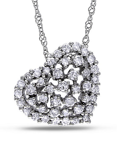 Concerto 0.5 Total Carat Weight Diamond and 14K White 18-Inch Gold Heart Necklace-DIAMOND-One Size