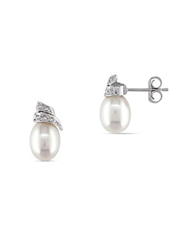 Concerto 6.5-7mm White Rice Freshwater Pearl 14K White Gold Earrings with  0.02 TCW Diamond Accent-PEARL-One Size