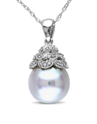 Concerto 10-10.5mm White Drop South Sea Pearl and 14K White Gold Necklace with 0.6TCW Diamonds-PEARL-One Size