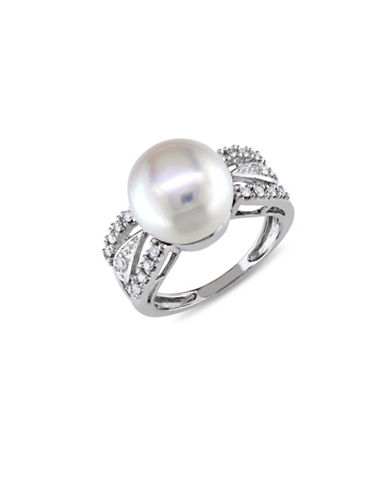 Concerto 10 mm Freshwater Button Pearl 14K White Gold Cocktail Ring with 0.12 TCW Diamond-PEARL-9