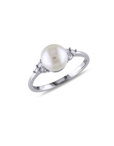 Concerto 7.5-8mm White Round Freshwater Pearl 14K White Gold Ring-PEARL-5