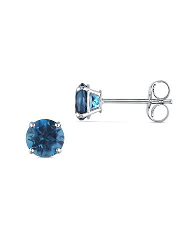 Concerto 1.2 Total Carat Weight Blue Topaz and 14K White Gold Solitaire Earrings-BLUE TOPAZ-One Size