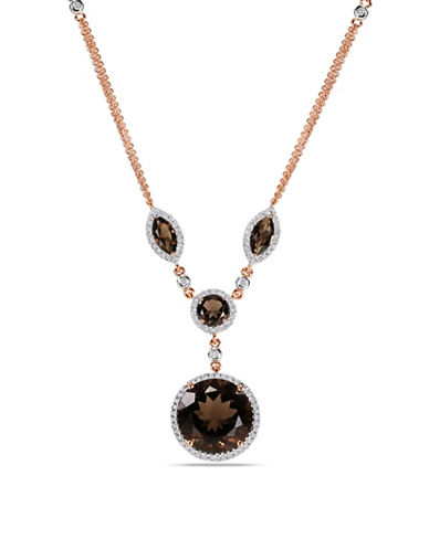 Concerto 14K Pink Gold 0.6 TCW Diamond and Smokey Quartz Necklace-SMOKEY QUARTZ-One Size