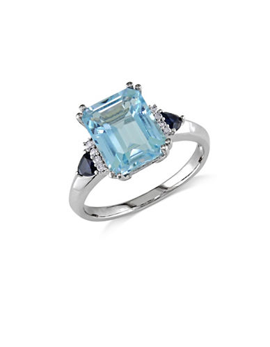 Concerto 14K White Gold Blue Topaz and Sapphire 0.04 Total Carat Weight Diamond Ring-BLUE-8