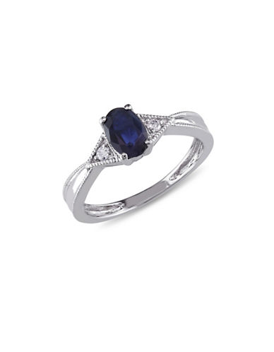 Concerto 14K White Gold Sapphire 0.03 Total Carat Weight Diamond Ring-BLUE-8