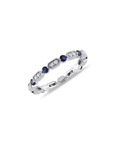 Concerto 14K White Gold 0.67 TCW Diamond Sapphire Eternity Ring-BLUE-5