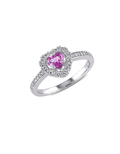 Concerto 0.1 TCW Diamond and Pink Sapphire with 14K White Gold Halo Heart Ring-PINK-8