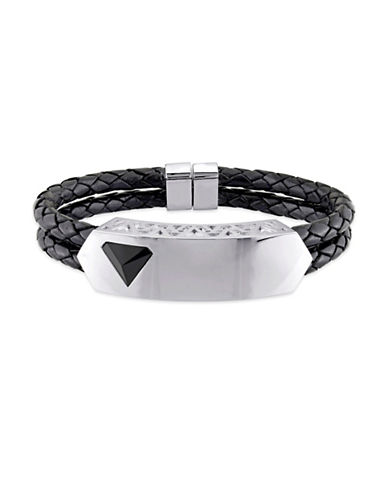 V19.69 Italia Black Agate Prism Braided Leather Bracelet-BLACK-One Size