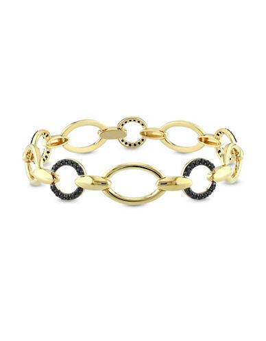 V19.69 Italia 18K Yellow Goldplated Black Spinel Circle Link Bracelet-BLACK-One Size