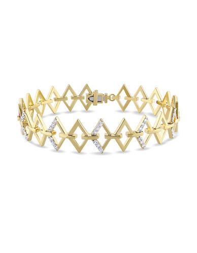 V19.69 Italia White Sapphire Logo Ladder Bracelet-GOLD-One Size