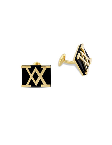 V19.69 Italia Black Onyx Logo Cufflinks-BLACK-One Size