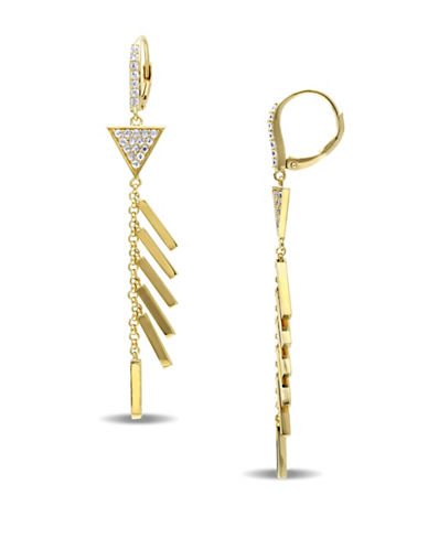 V19.69 Italia Insignia 18K Yellow Goldplated Drop Earrings-WHITE-One Size