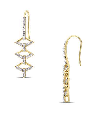 V19.69 Italia White Sapphire Logo Ladder Earrings-GOLD-One Size