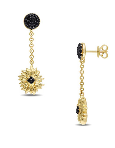 V19.69 Italia Black Sapphire Sunflower Drop Earrings-BLACK-One Size