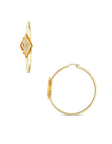 V19.69 Italia Goldtone Sterling Silver Citrine Prism Hoop Earrings-GOLD-One Size
