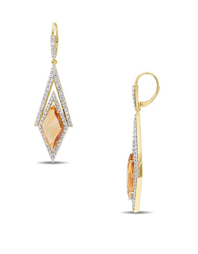 V19.69 Italia Citrine and White Sapphire Prism 18K Goldplated Drop Earrings-MULTI-One Size