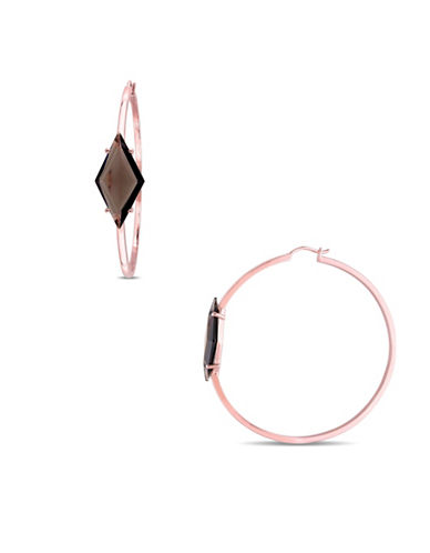 V19.69 Italia Smokey Quartz Prism Rose-Goldtone Sterling Silver Hoop Earrings-BROWN QUARTZ-One Size