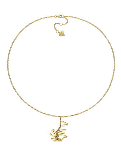 V19.69 Italia 18K Goldplated Insignia Drop Necklace-YELLOW-One Size