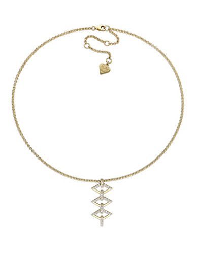 V19.69 Italia White Sapphire Logo Ladder Necklace-GOLD-One Size