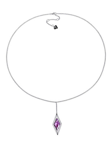 V19.69 Italia Sterling Silver Amethyst Prism Pendant Necklace-PURPLE-One Size