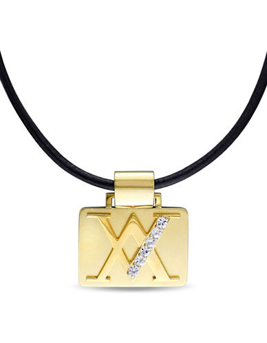 V19.69 Italia V-Emblem Black Leather Cord Necklace-GOLD-One Size