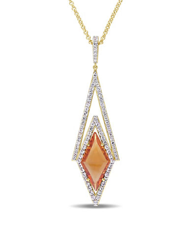V19.69 Italia Citrine and White Sapphire 18K Yellow Goldplated Prism Necklace-MULTI-One Size