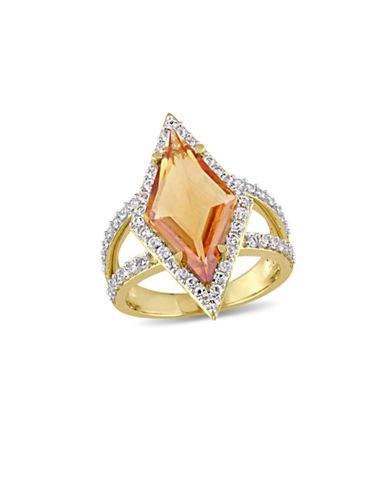 V19.69 Italia Citrine and White Sapphire 18K Goldplated Prism Ring-MULTI-7