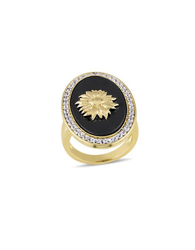 V19.69 Italia Black Agate and White Sapphire 18K Goldplated Logo Sunflower Ring-MULTI-6