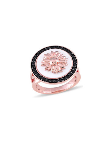 V19.69 Italia Black Sapphire and White Agate 18K Rose-Goldplated Sunflower Ring-MULTI-6