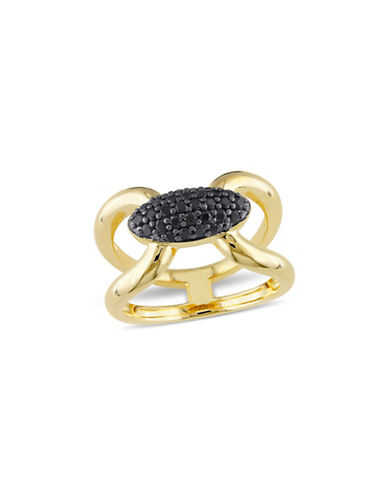 V19.69 Italia 18K Goldplated Black Sapphire Mystique Ring-BLACK-7