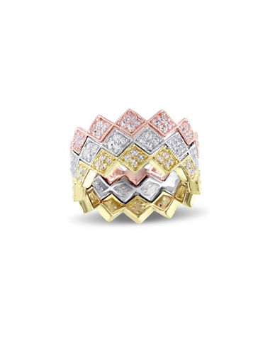 V19.69 Italia White Sapphire Three-Tone Zig Zag Ring-TRI GOLD-8