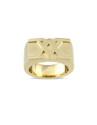 V19.69 Italia 18K Yellow Goldplated Sterling Silver Raised Logo Ring-GOLD-10.5