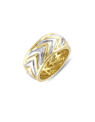 V19.69 Italia Sterling Silver and 18K Goldplated Sterling Silver Zig-Zag Ring-TWO TONE-11