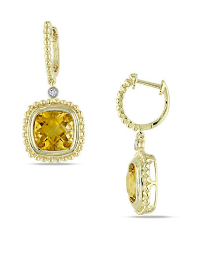 Concerto 14K Yellow Gold Citrine and Dangle Earrings with 0.04 TCW Diamonds-YELLOW-One Size
