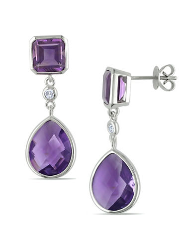 Concerto 14K White Gold Amethyst and Drop Earrings with 0.10 TCW Diamonds-PURPLE-One Size