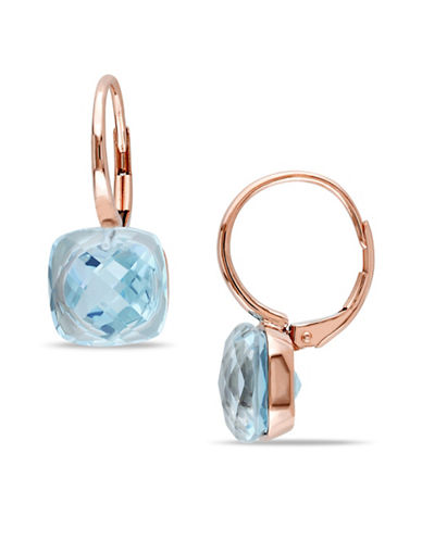 Concerto 14K Rose Gold Topaz Leverback Earrings-BLUE-One Size
