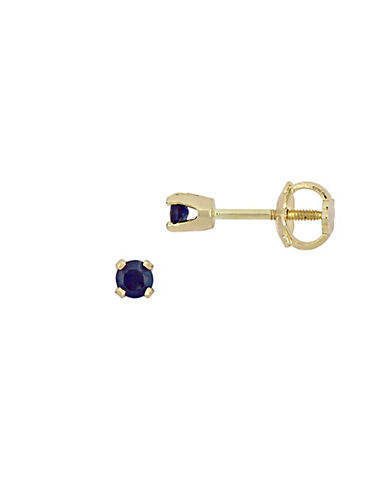 Concerto 14K Yellow Gold Sapphire Stud Earrings For Children-BLUE-One Size