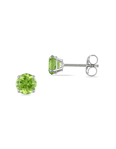Concerto 14K White Gold Peridot Stud Earrings-GREEN-One Size