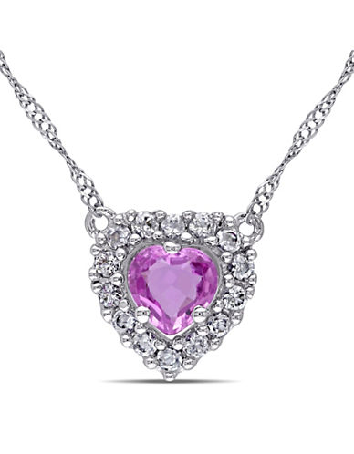 Concerto 14K White Gold Pink and White Sapphire Heart Necklace-MULTI-One Size