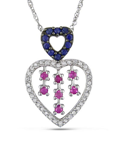 Concerto 14K White Gold Sapphire Heart Necklace with 0.17 TCW Diamonds-MULTI-One Size