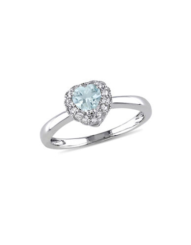Concerto 14K White Gold Aquamarine and Diamond Halo Heart Ring-BLUE-9