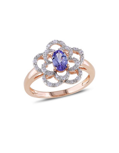 Concerto 14K Rose Gold and Tanzanite Flower Ring with 0.14 TCW Diamonds-BLUE-7