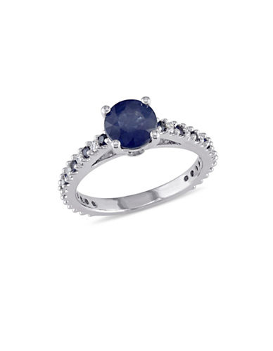 Concerto 14K White Gold Sapphire Ring with 0.20 TCW Diamonds-BLUE-5