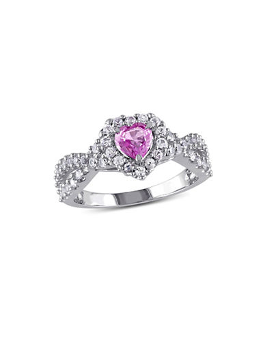 Concerto 14K White Gold Pink and White Sapphire Halo Heart Twist Ring-MULTI-6