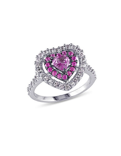 Concerto 14K White Gold Pink and White Sapphire Heart Halo Ring-MULTI-6